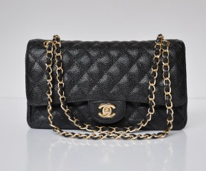 Chanel-1112-Classic-2.55-Series-Black-Caviar-Leather-Flap-Bag-Golden-Chain