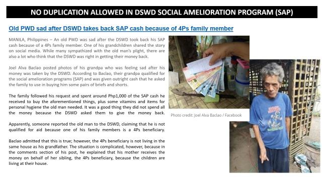 21 - Old PWD Sad After DSWD Took Back SAP