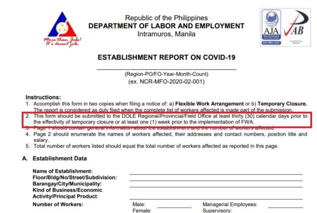 Establishment Report