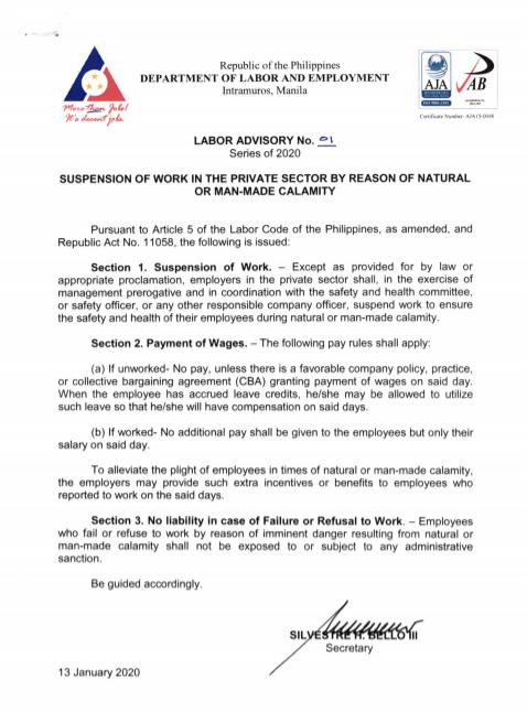 Labor Advisory No. 01