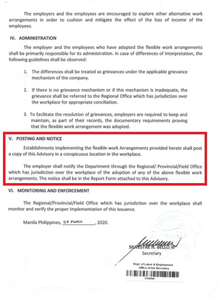 Labor Advisory No. 09