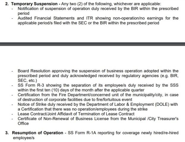 SSS Temporary Suspension