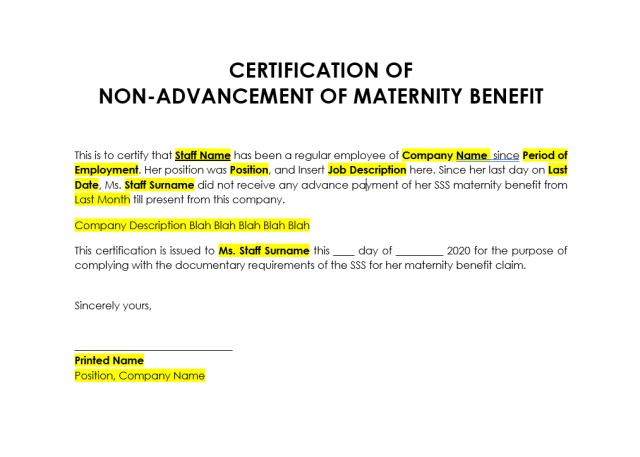 Certificate of Non Advancement