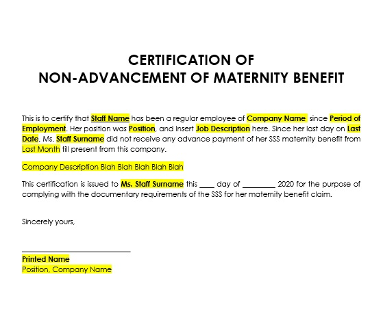 Certificate of Non Advancement of Mat Ben