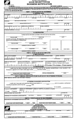 Sickness benefit notification form