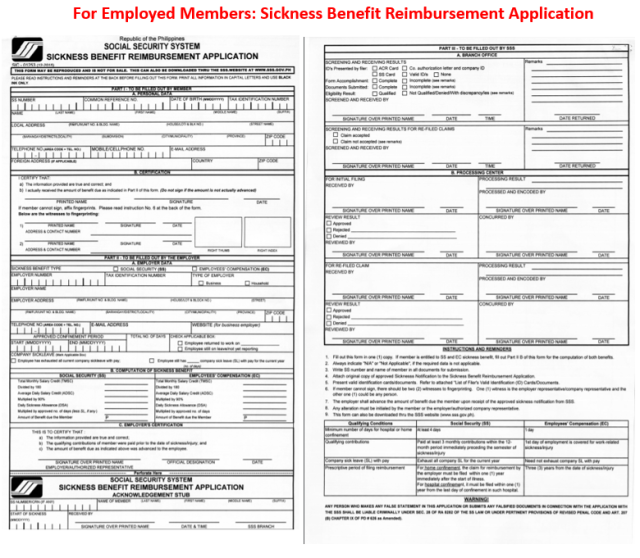 Sickness benefit reimbursement form